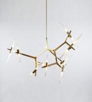 20 Light Chandelier - Brass, Angle-Cut Glass