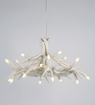 Chandelier - 12 Antlers - White
